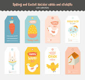Set of Easter greeting cards, tags, stickers Stock Photo