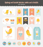 Set of Easter greeting cards, tags, stickers Stock Photos