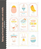 Set of Easter greeting cards, tags, stickers Stock Image