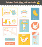 Set of Easter greeting cards, tags, stickers Royalty Free Stock Photos