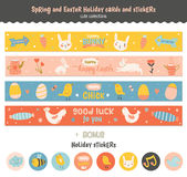 Set of Easter greeting cards, tags, stickers. Romantic and Cute Vector Cards, Notes, Stickers, Labels, Tags with Winter Christmas Illustrations and Wishes Royalty Free Stock Photography