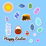 Set of Easter greeting stickers with bunny, flowers, eggs, cloud, sun, stump and basket. Clip-art scrapbooking elements, labels, vector illustration