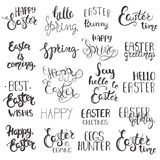 Set of Easter hand drawn lettering. Royalty Free Stock Photography