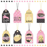 Set of Easter hand drawn lettering tags. Stock Photos