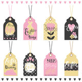 Set of Easter hand drawn lettering tags. Stock Image