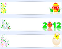 Set of easter horizontal banners. A chicken in a shell, egg with a bow and flowers. Vector illustration Royalty Free Stock Photography