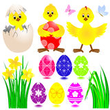 Set of Easter icons. Stock Photo