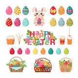 Set of Easter icons. Happy Easter icons set in flat style isolated on white background. Collection of traditional Easter elements. Vector illustration Royalty Free Stock Photos