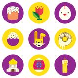 Set of easter icons. Round shape, colored in flat style with Easter symbols. Vector vector illustration