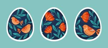 Set Easter jajka z tradycyjnym wzorem royalty ilustracja