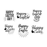 Set of Easter label. Font with Brush. Easter day badges. Vector Royalty Free Stock Images