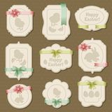 Set of Easter labels, tags with bows and ribbons Stock Photos