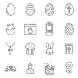 Set of Easter line vector icons. stock illustration