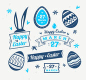 Set of Easter logos and labels. Vector cute illustration. Happy Easter greeting card with logos labels and eggs. Vector cartoon illustration. Cute stylish Royalty Free Stock Photos
