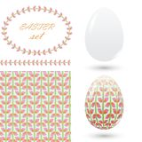 Set of easter ornaments and decorative elements, seamless pattern, brush, eggs, frames for announcements, greeting cards, posters, Royalty Free Stock Photo