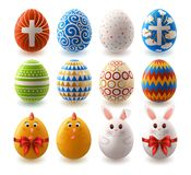 Set of Easter Painted Eggs royalty free stock images