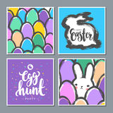 Set of Easter Postcards with Cute Bunny and Eggs. Stock Photos