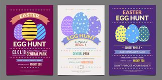 Set of Easter poster templates. Set of Easter egg hunt fun game event poster templates Stock Photos