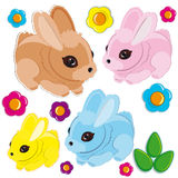 Set of Easter rabbits Royalty Free Stock Photos