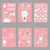Set of easter rabbits cards poster for holidays royalty free illustration