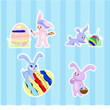 Stickers with rabbits Royalty Free Stock Photos