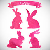 Set of Easter rabbits. Hand drawn sketch and watercolor illustrations Royalty Free Stock Photos