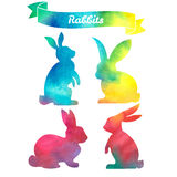 Set of Easter rabbits. Hand drawn sketch and watercolor illustrations Stock Photos