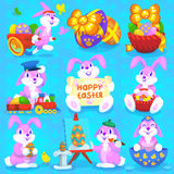 Set of easter rabbits Stock Photos