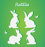 Set of Easter rabbits. Vector silhouette. Paper art and craft st Stock Image