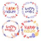 Set Easter rama Round rama kwiaty z kr?likiem t?o barwi?cy Easter jajek eps8 formata czerwony tulipanu wektor Świąteczny tło z wp ilustracji