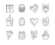 Set of the Easter related icons. Line icons Royalty Free Stock Image
