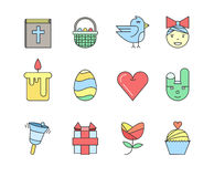 Set of the Easter related icons. Line icons Royalty Free Stock Photo