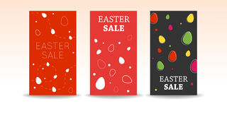 Set of Easter sale. Banners with decoration Stock Photo