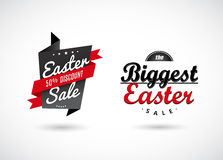 Set of Easter sale labels with red ribbons. Vector art Royalty Free Stock Photography
