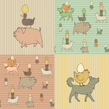 Set of 4 Easter seamless texture with farm animals Stock Photography