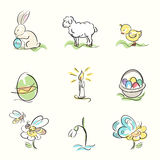 Set of Easter and spring hand drawn illustrations Stock Image