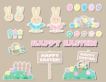 Set of happy easter  decorative elements Royalty Free Stock Photos