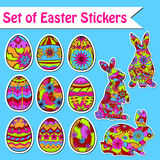Set of Easter stickers. Vector set of Easter eggs, wall, paper, window stickers Royalty Free Stock Images