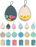 Set with easter tags with birds. Stock Image