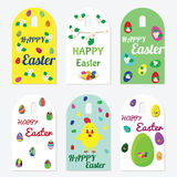 Set of Easter tags. Set of Easter gift tags with bunny, flowers, chicken and Easter eggs. Holiday illustrations and wishes for design and greetings with Happy Stock Photography