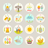 Set of Easter tags and labels with cartoon characters and greetings Royalty Free Stock Image