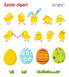 Set of Easter vector clip art with chicks, eggs Royalty Free Stock Photo