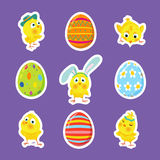 Set of Easter vector stickers with chicks, eggs Royalty Free Stock Images