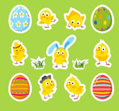 Set of Easter vector stickers with chicks, eggs Royalty Free Stock Image