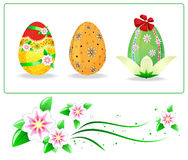 Set of easters eggs and flowers Royalty Free Stock Photography