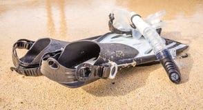Set żebro maska i snorkel Zdjęcia Stock