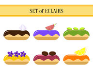 Set of eclairs Royalty Free Stock Images