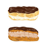 Set of eclairs with praline and cocoa cream in chocolate glaze. French pastries in watercolor style. Stock Photos