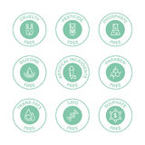 Set of eco badges. Free from paraben, artificial ingredients, pesticide, phosphate logos.nFor cosmetics, organic food packaging Stock Images