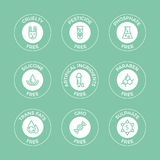 Set of eco badges. Free from paraben, artificial ingredients, pesticide, phosphate logos.nFor cosmetics, organic food packaging Stock Photography